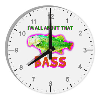 "All About That Bass Fish Watercolor 8"" Round Wall Clock with Numbers"
