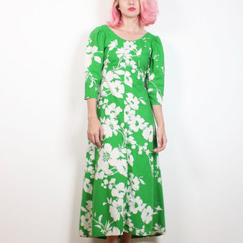 Vintage 1970s Dress Kelly Green White Tropical Floral Print Midi Dress 70s Dress Hawaiian Hippie Dress Fitted Sundress Maxi XS Extra Small S