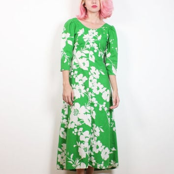 c444ace759 Vintage 1970s Dress Kelly Green White Tropical Floral Print Midi Dress 70s  Dress Hawaiian Hippie Dress