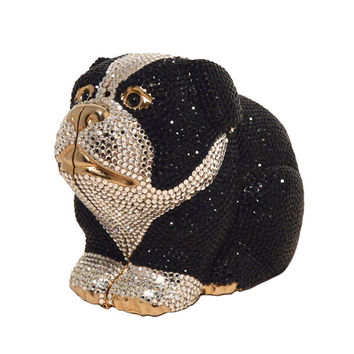 Judith Leiber Swarovski Crystal Bulldog Minaudiere Evening Bag