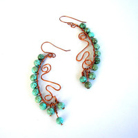Long Turquoise Magnesite Copper Earrings
