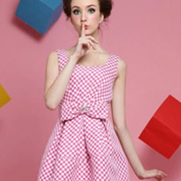 Romance Girl Young Lady Plaid Montage Bowknot Square Neck Backless Dress