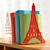 2pcs/Pair Korean Large Fashion Bookshelf Metal Bookend Eiffel Tower Desk Holder Stand For Books Organizer,White Black Red Blue