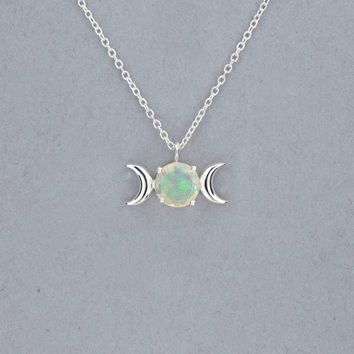 Triple Moon Goddess Necklace-Sterling Silver with Opal