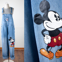 Vintage Mickey Mouse Denim Overalls | Mickey Mouse Denim Jeans Vintage Disney 1980s Blue Jean Boho Chic 90s Jeans Oversized Bib Overalls