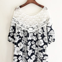 Navy Blue Floral Printed Mini Dress with Crocheted Details