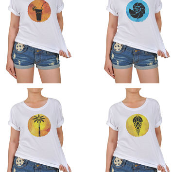 Women Summer Hand Drawn Icons Graphic Printed Cotton T-shirt  WTS_12