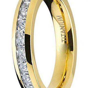 CERTIFIED 4MM Yellow Gold Princess Cut Eternity Titanium Ring Wedding Band with Cubic Zirconia