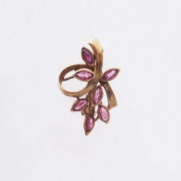 Vintage 9ct Gold Small Brooch, Pink Tourmaline Brooch, 375 Gold Pin