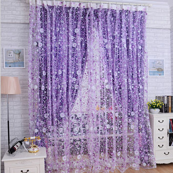 TOP Grand Modern Floral Tulle for Window Curtain Sheer Curtains for Living Room the Bedroom Window Screening Panel #N2V1