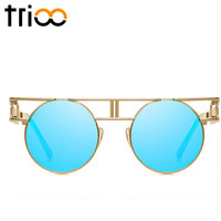 TRIOO Gothic Vintage Steampunk Sunglasses Women Retro Round Cool Sun Glasses Female UV400 Protection Gold Frame Woman Shades