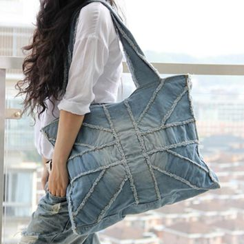 Casual women denim bag for travel female big shoulder bags vintage blue jeans bag ladies purse 2 colors bolsa feminina