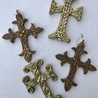 Cross CHRISTMAS ORNAMENT Gold Bronze Set of 4