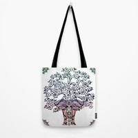 Indian Elephant Tree Of Life Tote Bag by Inspired Images