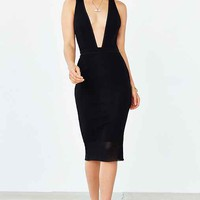 Bec & Bridge Noir Deep-V Midi Dress