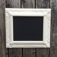 Magnetic Chalkboard, Memo Board, Ornate Framed Chalkboard, Creamy White