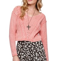 LA Hearts Cropped V-Neck Cable Pullover Sweater - Womens Sweater - Pink -