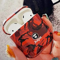 AAPE BAPE Hot Sale Camouflage iPhone Airpods Headphone Case Wireless Bluetooth Headphone Protector Case(No Headphones) Red
