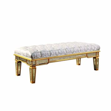 MD Florentine Gold-tone and Antique Mirrored 48 x 20-inch Bench