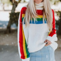 Once Upon A Rainbow Striped Sweater - Ivory