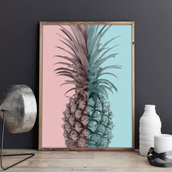 Pineapple Print, Pineapple Decor, Pineapple Art, Tropical Print, Tropical Wall Art, Pineapple Wall Art, Printable Art Print, Tropical Fruit