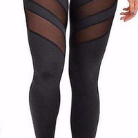See Through Black Mesh Splicing Leggings