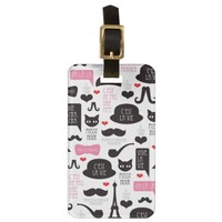 Paris mustache cat art travel tag luggage tag