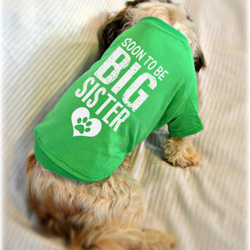 Custom Dog T-Shirts. Soon to Be Big Sister Dog Shirt. Small Pet Clothes. Gift for Expecting Mother.