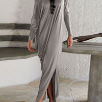 Gray One Shoulder Long Sleeves Ruched Split Maxi Dress