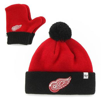 ONETOW NHL Detroit Red Wings Infant Bam Bam Knit Hat and Mitten Set-Red/Black