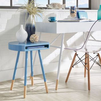 Paint-dipped Round End Table Q Modern - Sky Blue