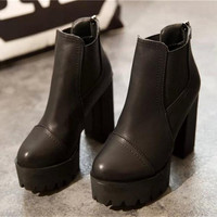 Block Thick Leather High Heeled Ankle Boots