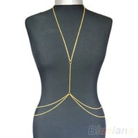Sexy Fashion Gold Body Belly Waist Chain Bikini Beach Harness Body Jewelry