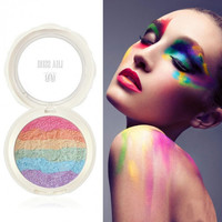 Baked Prism Rainbow Style Highlighter Powder Makeup Cosmetic Shimmer Blusher Palette With Mirror Eye Shadow Sponge