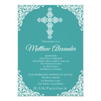 Chalkboard Modern Cross First Communion Invitation