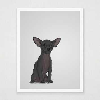 Moose - Black Chihuahua - Art Print