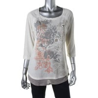 Style & Co. Womens Linen Blend Printed Pullover Top
