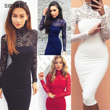 Julissa Mo 2016 Autumn Summer Women Dress Fashion Long Sleeve Vintage Lace Patchwork Sexy Bodycon Bandage Party Club Dresses