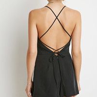 Crisscross-Back Pleated Romper