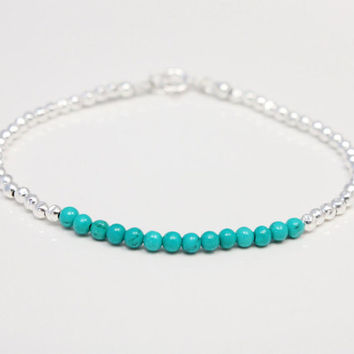 Turquoise bracelet, sterling silver faceted beads, thin beaded stackable bracelet, size 7 inches, handmade, natural real turquoise