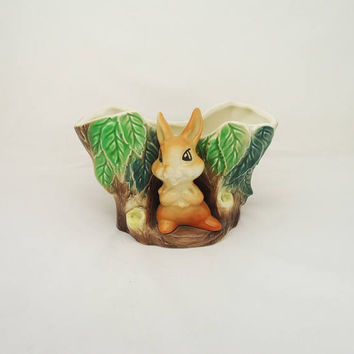 Vintage Hornsea Fauna Royal Rabbit Vase, Hornsea Fauna Pottery, Hornsea Bunny Planter, Collectable Hornsea Fauna Ceramic