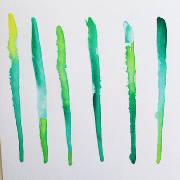 Abstract watercolor / green linear watercolor