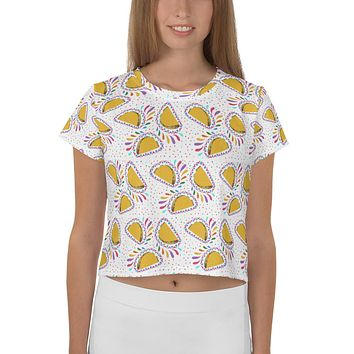 Tacos All-Over Print Crop Tee