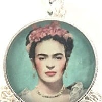 Mod Provisions Frida Kahlo with Red Flowers Glass Round Cabochon Pendant Necklace