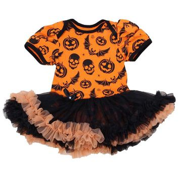 Funny Baby Girl Halloween Costumes Pumpkin Skull Rompers Dresses Jumpsuit Fantasias Infantil Girls Clothes Newborn Clothing Gift