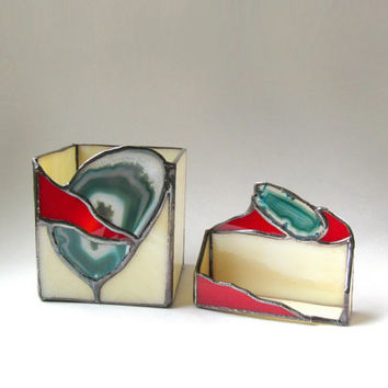 Tribal Business Card and Pencil Holder Geode Teal Red Beige Stained Glass Handmade OOAK