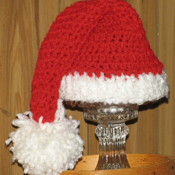 Santa Hat with Pom Pom for Newborn, Infant or Toddler