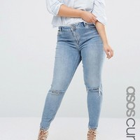 ASOS CURVE Lisbon Midrise Skinny Jeans In Shelby Light Stonewash With Shredded Knees at asos.com