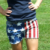 American Flag Jean Shorts Size 5