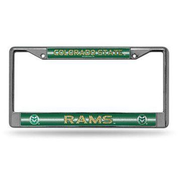 Colorado State Rams NCAA Glitter Bling Chrome License Plate Frame Car Truck Wall
